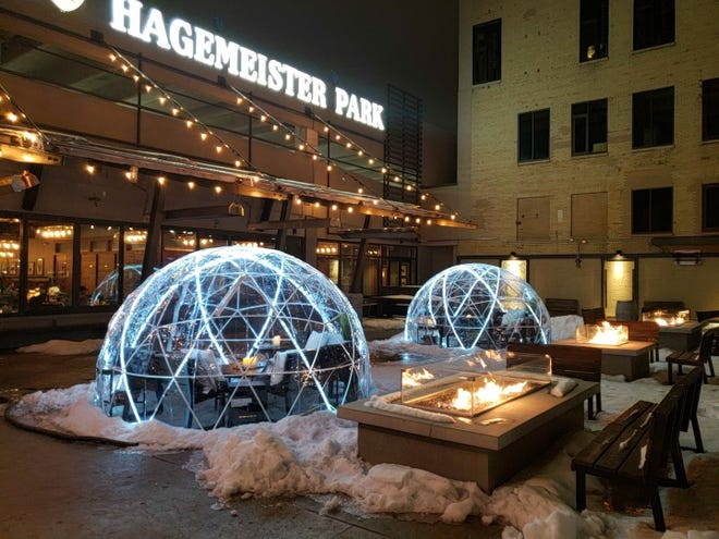 Hagemeister Park's Riverside Igloos offer views of the Fox River and come with a host of drink package options, including hot toddy, bloody mary and craft beer buckets.