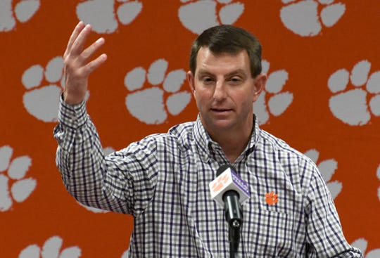 Clemson football Head Coach Dabo Swinney speaks about the 2020 signing class and starting over after the National Championship game, during National Letter of Intent signing day at the Allen Reeves Football Complex in Clemson Wednesday, February 5, 2020. Clemson signed 23 players during the early signing day on December 18, 2019.
