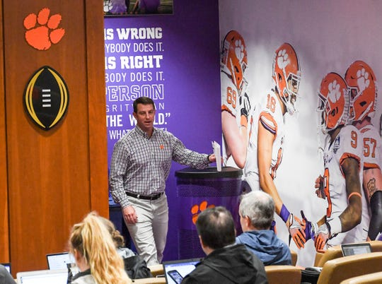 Clemson football Head Coach Dabo Swinney walks in before speaking about the 2020 class during National Letter of Intent signing day at the Allen Reeves Football Complex in Clemson Wednesday, February 5, 2020. Clemson signed 23 players during the early signing day