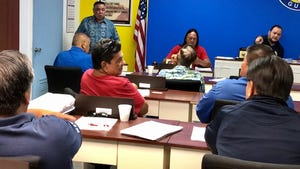The Mayors' Council of Guam meets in this Feb. 5, 2020, file photo.