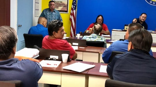 Agana Heights Mayor Paul McDonald, in red shirt, shares with his fellow mayors his frustration trying to seek reimbursement of $8,000 from the current health insurance provider, during a Feb. 5, 2020 Mayors' Council of Guam meeting in Hagatna.