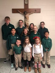 The January 2020 Holy Name Cardinals of the Month are, first row from left, Parker Bryant, Andie Windhaus, and Sloane Koonce. Second row, from left, Jasmine Nicholas, Finley Beck, Bryanna Alvey, and CamRong King. Third row, from left, Sam Long, Garrett Thomas, Paislee LaMond, and Oliva Carr. Cassel Hargitt is not pictured.