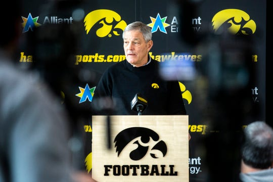 Iowa head coach Kirk Ferentz talks with reporters, Wednesday, Feb. 5, 2020, at the Hansen Football Performance Center in Iowa City, Iowa.