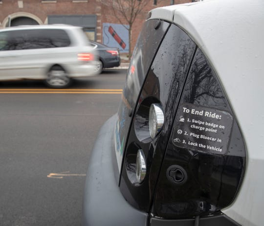 One of the BlueIndy locations along Virginia Avenue, Wednesday, Feb. 5, 2020. The company, which provides electric cars for rent at various kiosks, is slated to cease operations in the city later this spring.