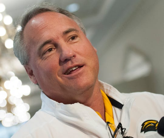 Southern Miss head football coach Jay Hopson answers question on Signing Day while in Jackson Wednesday, Jan. 5, 2020.
