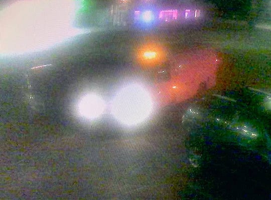 This surveillance image shows a white van that Gulfport police believe left the scene after hitting five people, killing one.