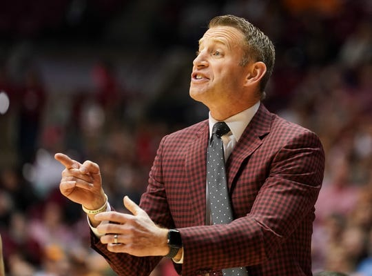 Feb 4, 2020; Tuscaloosa, Alabama, USA; Alabama Crimson Tide head coach Nate Oats during the first half against Tennessee Volunteers at Coleman Coliseum. Mandatory Credit: Marvin Gentry-USA TODAY Sports