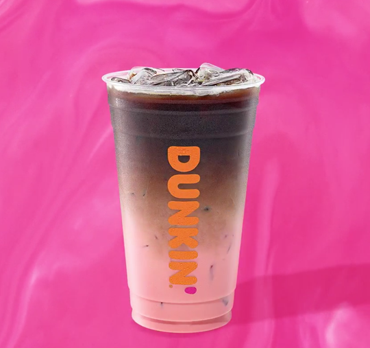 The Pink Velvet Macchiato from Dunkin'  combines red velvet cake and cream cheese flavors with espresso.