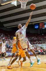 Feb 4, 2020; Tuscaloosa, Alabama, USA; Alabama Crimson Tide guard James Bolden (11) drives to the basket against Tennessee Volunteers during the second half at Coleman Coliseum. Mandatory Credit: Marvin Gentry-USA TODAY Sports