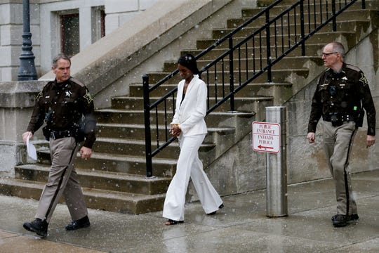 Yariel Butler is escorted out of the Tippecanoe County Courthouse by sheriff's deputies after being found guilty by a jury in the Aug. 2, 2018 crash that killed two people and injured another, Wednesday, Feb. 5, 2020 in Lafayette. Butler was found guilty of two counts of leaving the scene of an accident resulting in death and one count of leaving the scene of an accident causing bodily injury in the Aug. 2, 2018 crash killing Kimberly Massey McDole and William Peacock, and injuring Robert Carley.