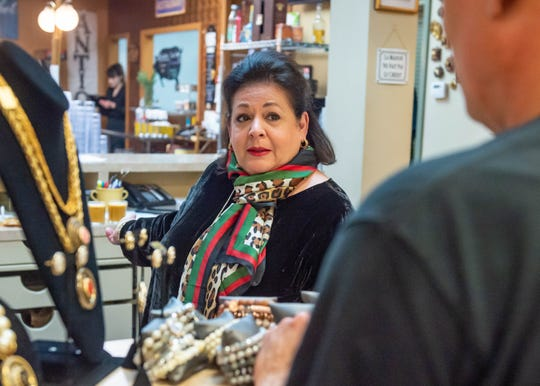 Mary Hopkins, Owner of Renaissance Market celebrating 28 years. Wednesday, Feb. 5, 2020.