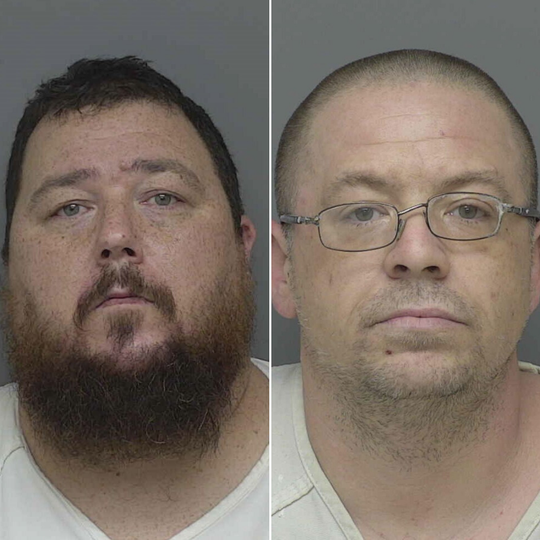Eric Lowman (left) and Shane Whiteman (right) are charged with multiple counts of uttering and publishing.