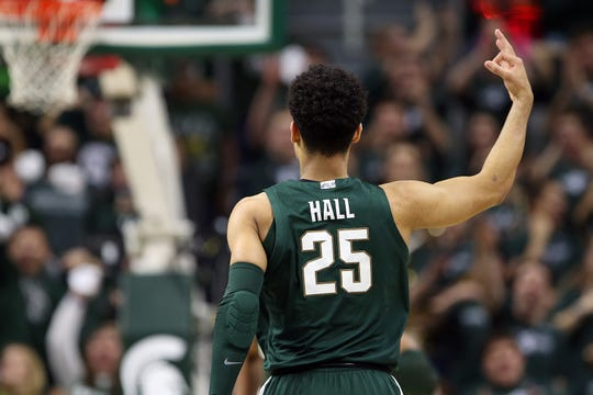 Feb 4, 2020; East Lansing, Michigan, USA;  Michigan State Spartans forward Malik Hall (25) reacts during the first half against the Penn State Nittany Lions at the Breslin Center. Mandatory Credit: Mike Carter-USA TODAY Sports