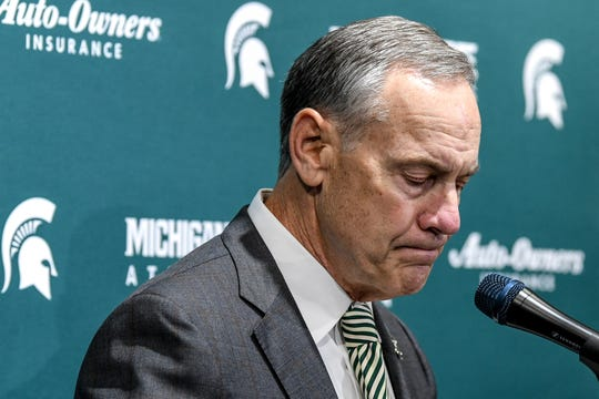 Mark Dantonio pauses while speaking about his decision to retire as Spartans head football coach during a press conference on Tuesday, Feb. 4, 2020, at the Breslin Center in East Lansing. Dantonio made the announcement on Twitter earlier in the day.