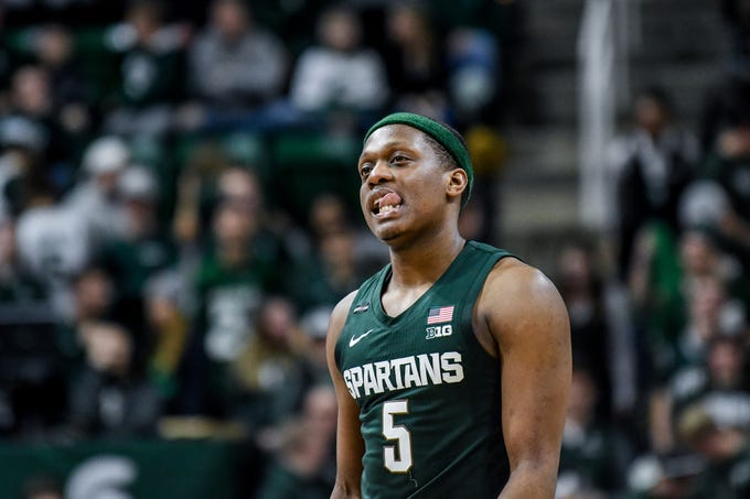 Michigan State's Cassius Winston reacts in the final seconds of the Spartans loss to Penn State on Tuesday, Feb. 4, 2020, at the Breslin Center in East Lansing.