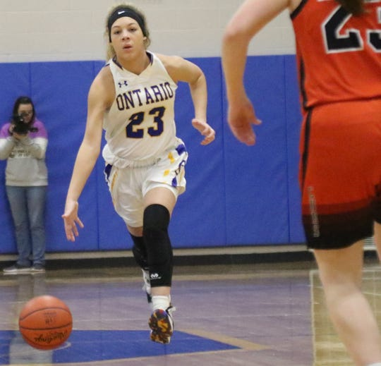 Ontario's Carleigh Pearson leads the Lady Warriors into battle with Perkins on Saturday night.