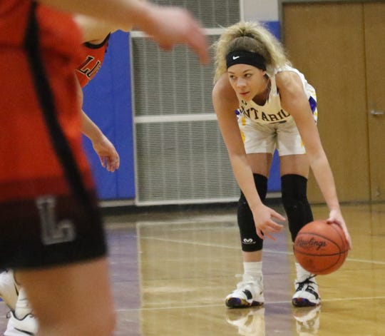 Ontario's Carleigh Pearson scored 12 points in a loss to Lucas on Tuesday night.