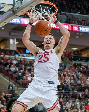 Ohio State forward dunks the ball against Minnesota earlier this season at the Schottenstein Center.