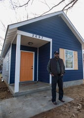 Contractor Dwayne Jones shows off a 480-square-foot tiny home he built on Monday, Feb. 3, 2020  in Orange Mound on Supreme Avenue.