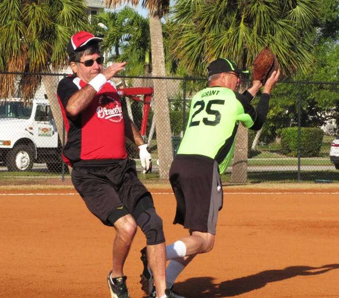 Wayne Bombaci of the Brewery is safe on a bang/bang play at first as Speakeasy Bob Grant attempts the put out.
