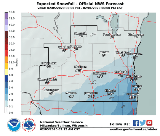 Light snow with accumulations ranging from a dusting to a couple inches is forecast for late Wednesday night into Thursday.