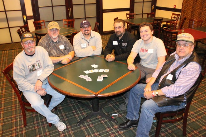 This year's Ante Up for the Library Texas Hold 'Em Tournament sat 84 players and raised funds helping the Baxter County Library Foundation better support the Baxter County Library. This year's top six winners, taking home American Eagle gold coins were (from left): Jim Cockerel first place; Bob Manning, second place; Cheyne Coverdale, third place, James Buchanan, fourth place; Parker Williams, fifth place; and David Doshier, sixth place.
