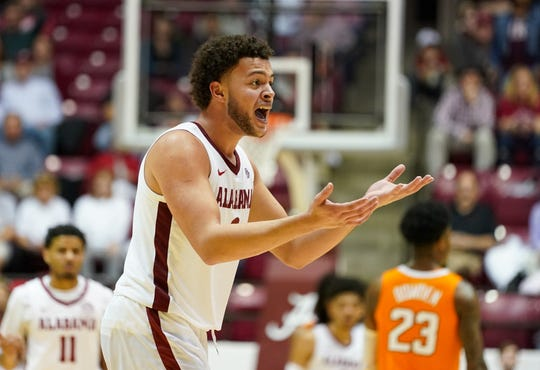 Feb 4, 2020; Tuscaloosa, Alabama, USA; Alabama Crimson Tide forward Alex Reese (3) reacts after being called for his 5th foul during the second half against Tennessee Volunteers at Coleman Coliseum. Mandatory Credit: Marvin Gentry-USA TODAY Sports