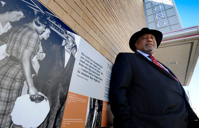 Bernard Lafayette talks about his experiences as a Freedom Rider in front of the Freedom Rides Museum in Montgomery. Lafayette is shown, wearing a hat, in the photograph at left on the exterior of the museum.