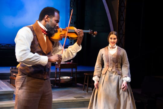 """Madeleine Lambert, who plays Susan B. Anthony, and Cedric Mays, who plays Frederick DouglassDouglass, in a scene from """"The Agitators: The Story of Susan B. Anthony and  Frederick Douglass"""" at Alabama Shakespeare Festival."""