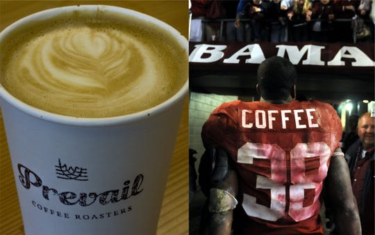 Former football player Glen Coffee will speak at a coffee-themed Valentine's Day event in downtown Montgomery.