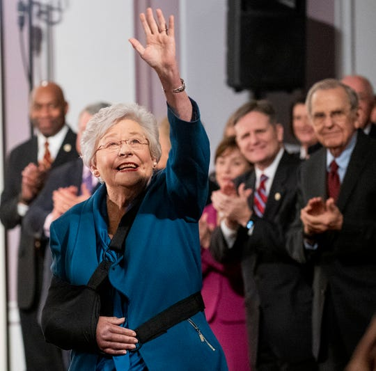 Governor Kay Ivey arrives for her State of the State Address in the old house chamber in the state capitol building in Montgomery, Ala., on Tuesday evening February 4, 2020.