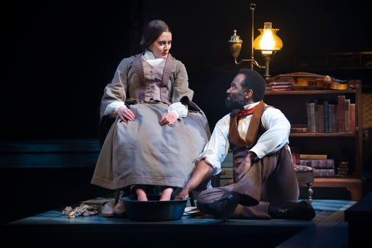 """Madeleine Lambert, who plays Susan B. Anthony, and Cedric Mays, who plays Frederick Douglass, in a scene from """"The Agitators: The Story of Susan B. Anthony and  Frederick Douglass"""" at Alabama Shakespeare Festival."""