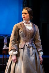 """Madeleine Lambert, who plays Susan B. Anthony, in a scene from """"The Agitators: The Story of Susan B. Anthony and  Frederick Douglass"""" at Alabama Shakespeare Festival."""