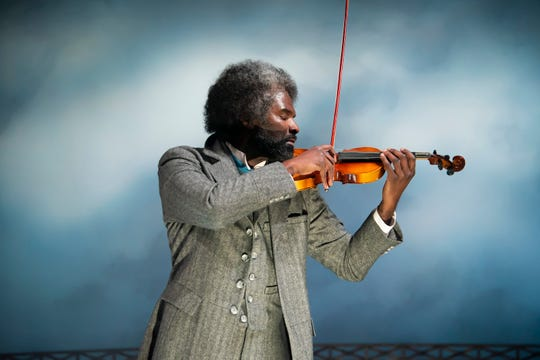 """Cedric Mays, who plays Frederick Douglass, in a scene from """"The Agitators: The Story of Susan B. Anthony and  Frederick Douglass"""" at Alabama Shakespeare Festival."""