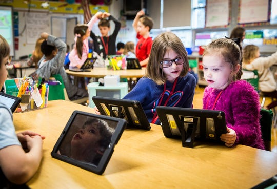 Students study in West View Elementary School teacher Kelsey Pavelka's dual language class Wednesday morning.