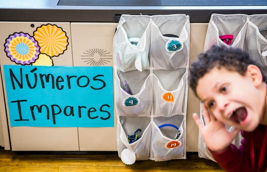 Conner, a second grade dual language student in West View Elementary School teacher Kelsey Pavelka's dual language class, has fun in class Wednesday morning.