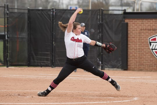 BSU sophomore pitcher Tieghan Morio competes for the Cardinals during her career at Ball State.