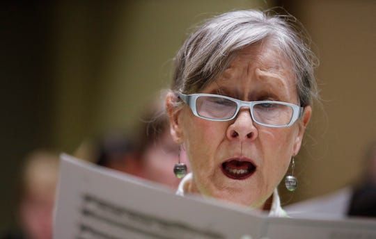 Mary Hill, a member of the Williamson County Community Chorus, sings during practice Tuesday, Feb. 4, 2020, in Franklin.