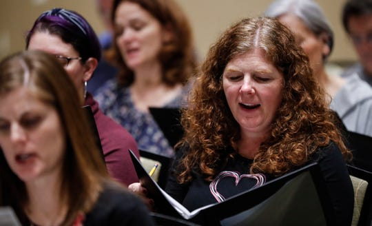 Jane McGrath, a member of the Williamson County Community Chorus, sings during practice Tuesday, Feb. 4, 2020, in Franklin.