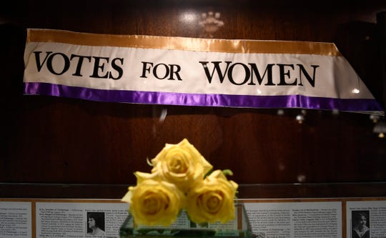 A sash from the suffrage exhibit inside the Hermitage Hotel that was a hot spot during the debate for the 19th Amendment giving women equal voting rights in August 1920  in Nashville, Tenn. Wednesday, Jan. 29, 2020.