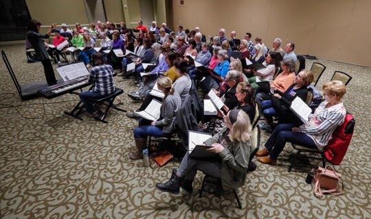 Members of the Williamson County Community Chorus practice Tuesday, Feb. 4, 2020, in Franklin.