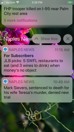 Too many push notifications on your phone can sometimes feel like information overload. With the Naples Daily News app, you are in control of your alerts.