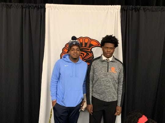A photo from Lely High School's National Signing Day ceremony on Feb. 5, 2020. Football players Jayden Noel (left) signed with Upper Iowa, and football player Adam Branchedor (right) signed with Lake Erie.