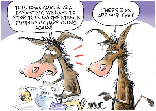 Democrats' app in Iowa.