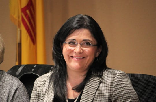 Las Cruces Public Schools Superintendent Karen Trujillo, on the night the Board of Education dropped 'interim' from her title and approved a two-year contract for her, at the school board meeting on Tuesday, Feb. 4, 2020.