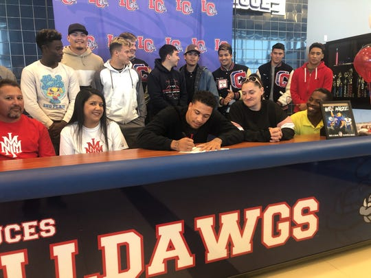 Las Cruces High's William Magee signed his Letter of Intent on Wednesday to play college football at NMMI.