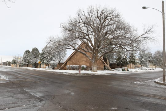 First Evangelical Presbyterian Church in Artesia had a winter coat after snow fell Feb. 4.