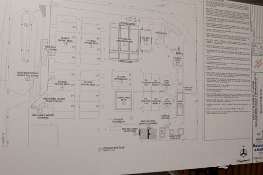 A project site plan outlines the upcoming work at the water reclamation plant in  Bloomfield. The plan was displayed during a public meeting, Tuesday, Feb. 4, 2020, at Bloomfield City Hall.