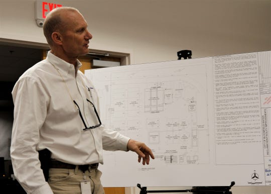 Rob Richardson, the project manager from Bohannon Houston, talks about the project site plan for the water reclamation facility, Tuesday, Feb. 4, 2020, during a public meeting in Bloomfield.