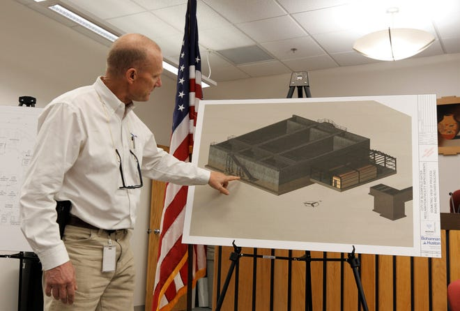Rob Richardson, the project manager from Bohannon Houston, talks about the water reclamation facility upgrades, Tuesday, Feb. 4, 2020, during a public meeting in Bloomfield.